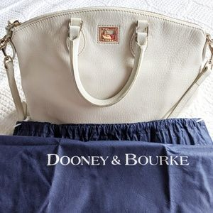 Dooney & Bourke White Pebble Leather Satchel Bag